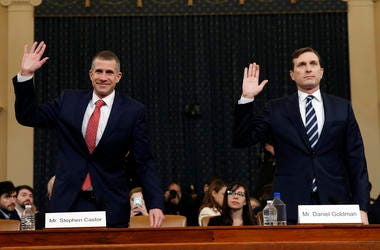 Republican staff attorney Steve Castor, left, and Democratic staff attorney Daniel Goldman and are sworn in to testify as the House Judiciary Committee hears investigative findings in the impeachment inquiry of President Donald Trump.
