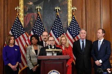 House committee chairs unveil articles of impeachment against President Donald Trump, during a news conference on Capitol Hill in Washington, Tuesday, Dec. 10, 2019.