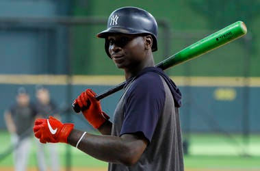 New York Yankees shortstop Didi Gregorius prepares to take batting practice before Game 6 of baseball's American League Championship Series against the Houston Astros in Houston in October.
