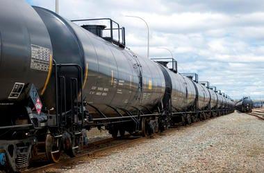 Black railway tanker cars