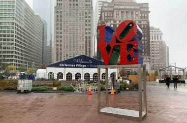 The Christmas Village is going up at LOVE Park in Philadelphia.