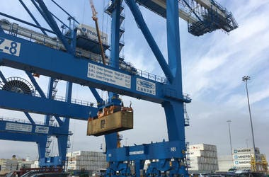 "The super-post-Panamax cranes at PhilaPort are described as a ""game-changer."""