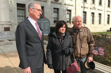 Delaware County Prosecutor Daniel McDevitt, with Rosann DeRsa and Richard DeRosa, parents of Deana Eckman.