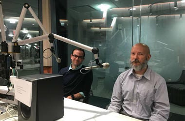 Nick Falco and Matt McAvoy at a KYW Newsradio studio.