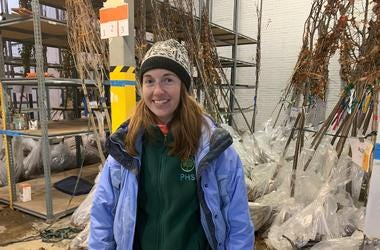 Dana Dentice, Pennsylvania Horticultural Society urban forestry program manager, poses with trees to be planted over the weekend.