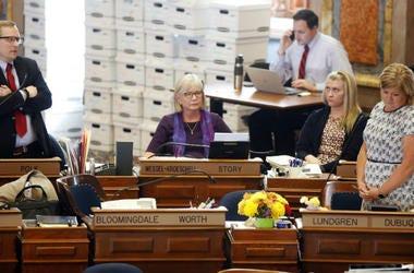 "legislators debate the ""heartbeat"" bill at the Iowa state capitol in Des Moines"
