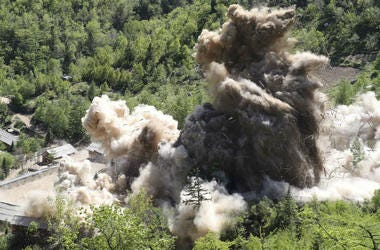 In this Thursday, May 24, 2018 photo, The fourth tunnel of North Korea's nuclear test site is blown up in Punggye-ri, North Korea.