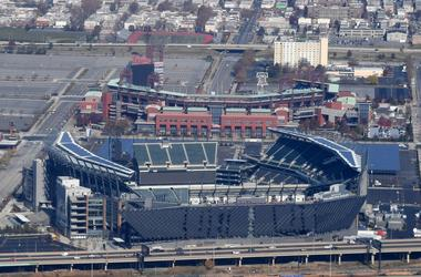 General aerial overall view of Citizens Bank Park (top) and Lincoln Financial Field.
