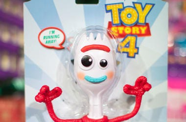 A Toy Story 4 True Talkers Forky toy by Mattel, which was named in the top 12 to buy during the unveiling of the annual DreamToys list at St Mary's Church in Marylebone, London.