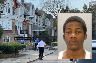 Image of Nikeem Leach is inset within an image of the block in Overbrook where where he shot his 11-year-old brother.