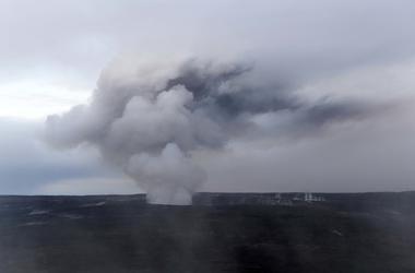 Ash emission is seen erupting from Halemaumau of Kilauea volcano on the Hawaii Island.