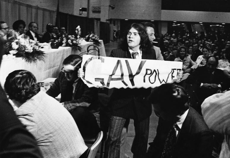 Mark Segal disrupts a 1972 Republican City Committee dinner at the Philadelphia Civic Center.