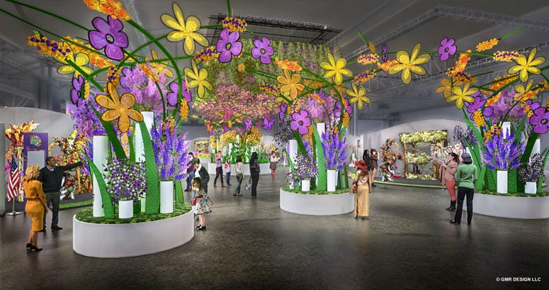 Rendering of the entrance garden of the 2019 Philadelphia Flower Show.