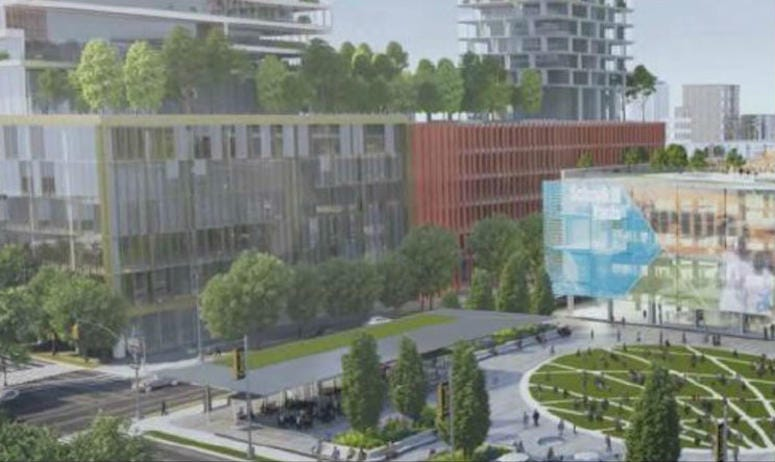 A rendering of the renovations set for 30th Street Station showcasing the new canopy and Drexel Square.