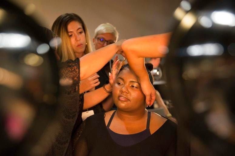 Models prepare backstage before presenting the Loft spring 2019 collection during Fashion Week Friday, Sept. 7, 2018, in New York.