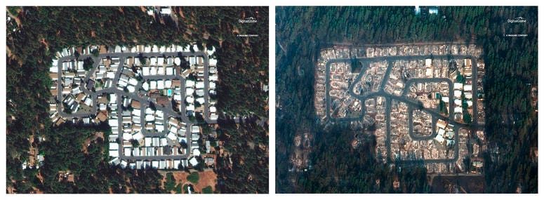 This combination photo of satellite images provided by DigitalGlobe shows a neighborhood in the northern California town of Paradise before a wildfire on Sept. 10, 2018, left, and after the fire on Nov. 17, 2018.