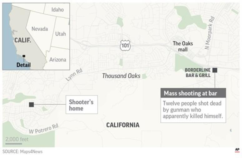 Map locates the site of the mass shooting at Borderline Bar and Grill.