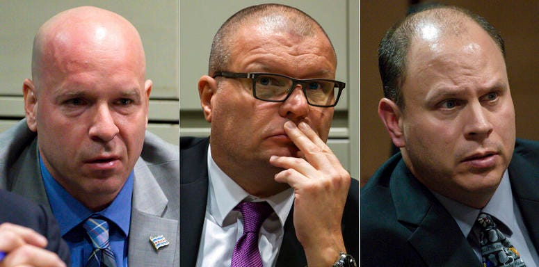 This combination of Nov. 28, 2018 file photos shows former Chicago Police officer Joseph Walsh, left, former detective David March and former officer Thomas Gaffney during a bench trial before Judge Domenica A. Stephenson.