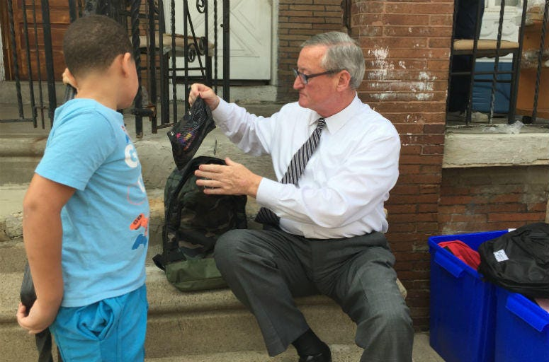 Mayor Jim Kenney visits a Playstreets site in Kensington.