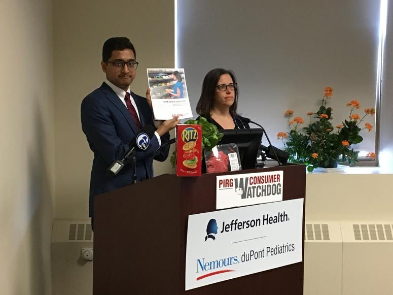Viveth Karthikeyan (left) and Dr. Amanda Micucio discuss findings of a report at Thomas Jefferson University Jan. 17, 2019, which shows increasing threats to U.S. food safety.