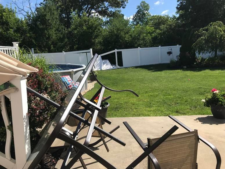 In Glassboro, N.J., the backyard of Tareq Elayoub was damaged.