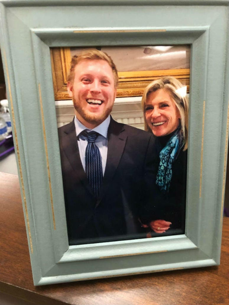 A photo of Brad Perz and his mother, Beth Perz.