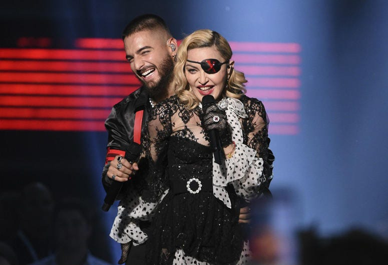 """Maluma, left, and Madonna perform """"Medellin"""" at the Billboard Music Awards on Wednesday, May 1, 2019, at the MGM Grand Garden Arena in Las Vegas."""