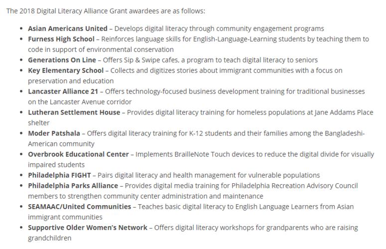 Digital Literacy Alliance grant winners 2018