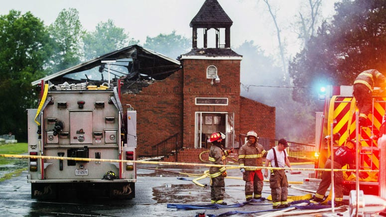 Firefighters and fire investigators respond to a fire at Mt. Pleasant Baptist Church Thursday, April 4, 2019, in Opelousas, La.
