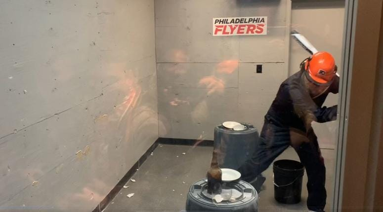 """The Wells Fargo Center has installed a """"rage room"""" to amuse Flyers fans."""