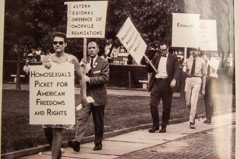 In this photograph by Kay Tobin-Lahusen in the John J. Wilcox, Jr. Archives at the William Way LGBT Community Center inPhiladelphia, activist Barbara Gittings is shown in the foreground at the 1969 Reminder Day demonstration at Independence Mall.