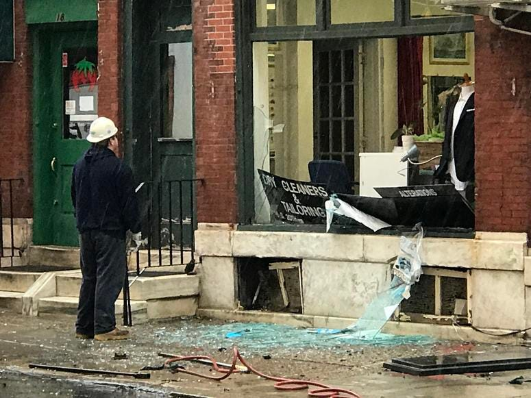 A tailoring and cleaning business had its windows blown out during an underground explosion on 20th Street near Ranstead Street.
