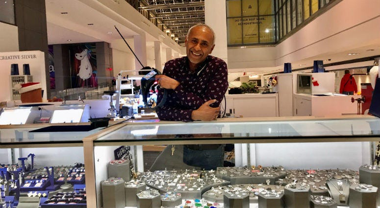 George Thomas, the owner of  jewelry kiosk Creative Silver in the Fashion District.