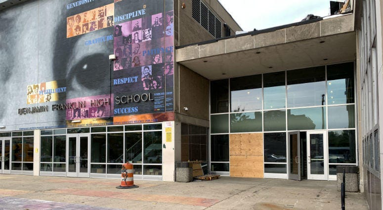 Construction at the newly-combined Science Leadership Academy and Ben Franklin High School.