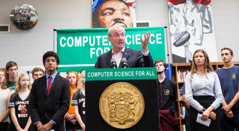 Gov. Phil Murphy announces computer science education initiatives at Steinert High School in Hamilton Township on Oct. 3, 2018.