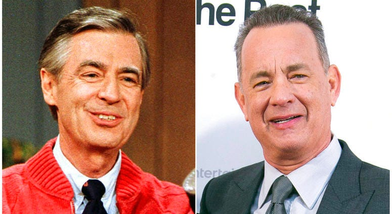"""Fred Rogers as he rehearses the opening of his PBS show """"Mister Rogers' Neighborhood"""" in Pittsburgh on June 28, 1989, left, and Tom Hanks at the London premiere of the film 'The Post ' on Jan. 10, 2018."""
