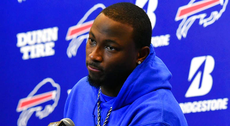 In this Dec. 17, 2017, file photo, Buffalo Bills running back LeSean McCoy (25) speaks with the media following an NFL football game against the Miami Dolphins, in Orchard Park, N.Y.