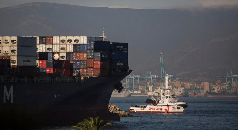 The Open Arms Search and Rescue vessel arrives in Algeciras, Spain, Thursday, Aug. 9, 2018.