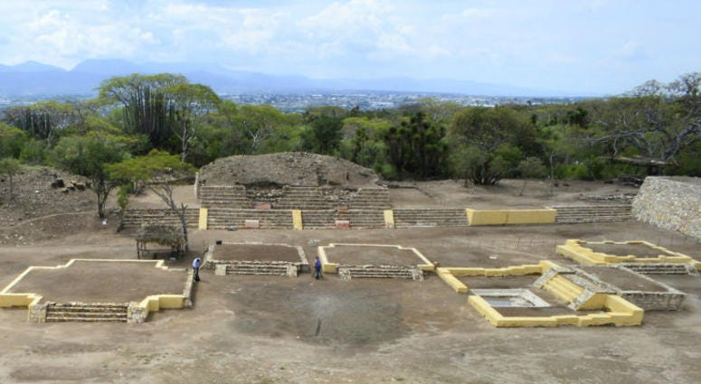 In this 2018 photo provided by Mexico's National Institute of Anthropology and History, INAH, investigators work at the Ndachjian–Tehuacan archaeological site in Tehuacan, Puebla state, Mexico, where archaeologist have identified the first known temple to