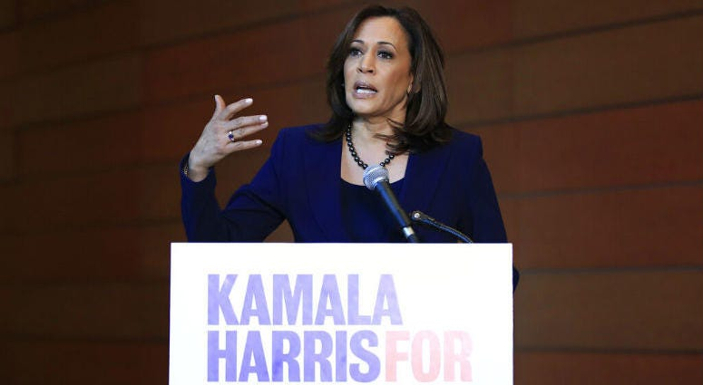 Sen. Kamala Harris, D-Calif., speaks to members of the media at her alma mater, Howard University, Monday, Jan. 21, 2019 in Washington, following her announcement earlier in the morning that she will run for president.