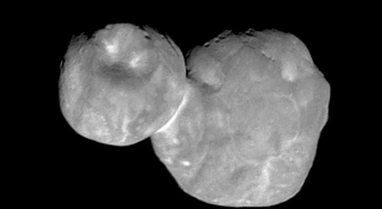 This Tuesday, Jan. 1, 2019 image made available by NASA on Thursday, Jan. 24 shows the Kuiper belt object Ultima Thule, about 1 billion miles beyond Pluto, encountered by the New Horizons spacecraft.