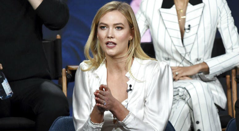 "Karlie Kloss speaks in Bravo's ""Project Runway"" panel during the NBCUniversal TCA Winter Press Tour on Tuesday, Jan. 29, 2019, in Pasadena, Calif."