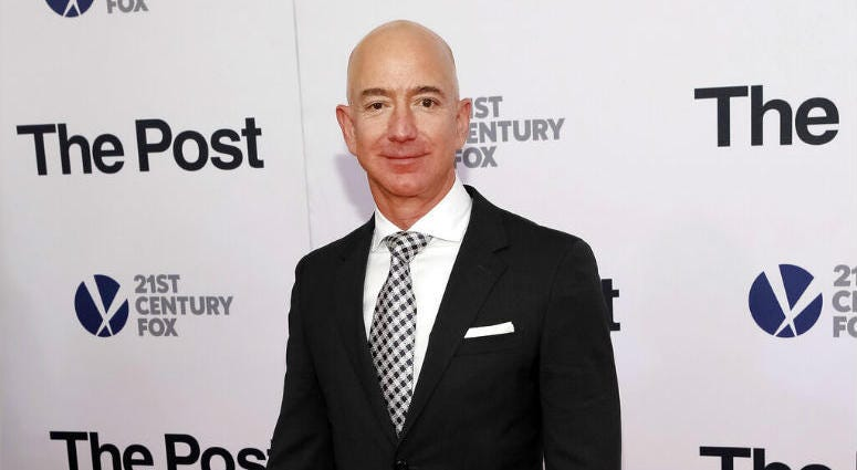 """FILE - In this Dec. 14, 2017, file photo, Jeff Bezos attends the premiere of """"The Post"""" at The Newseum in Washington."""