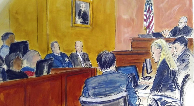 """FILE - In this Monday Feb. 4, 2019 courtroom sketch, Judge Brian Cogan upper right, gives instructions to jurors in the trial of Joaquin """"El Chapo"""" Guzman in New York."""