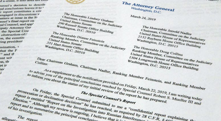 The letter from Attorney General William Barr to Congress on the conclusions reached by special counsel Robert Mueller in the Russia probe.