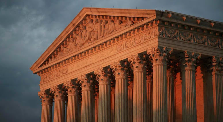 This Oct. 4, 2018, file photo shows the U.S. Supreme Court at sunset in Washington.
