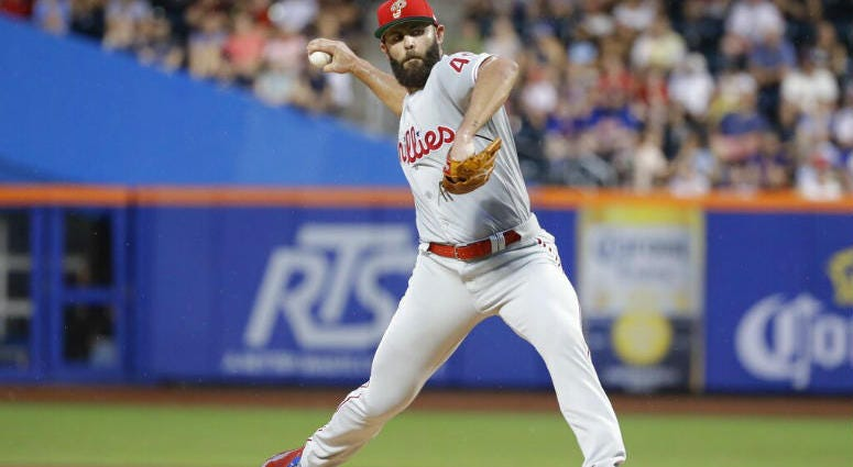 Philadelphia Phillies' Jake Arrieta delivers a pitch during the first inning of a baseball game against the New York Mets, Saturday, July 6, 2019, in New York.