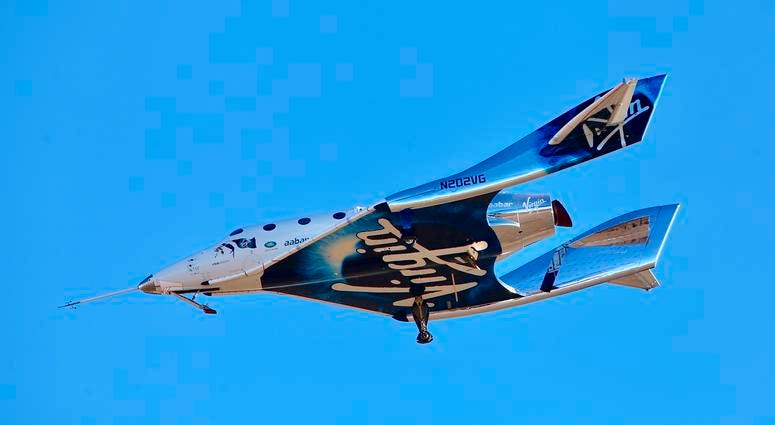 In this Dec. 13, 2018 file photo, a view of Virgin Galactic prior to it reaching space for the first time during its 4th powered flight from Mojave, Calif.