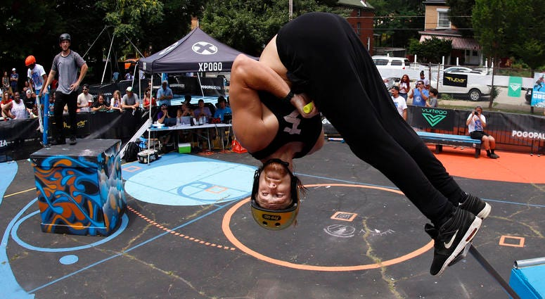 Harry White, of Orillia, Canada, performs in Pogopalooza, The World Championships of Pogo in Wilkinsburg, Pa., Saturday, July 20, 2019.