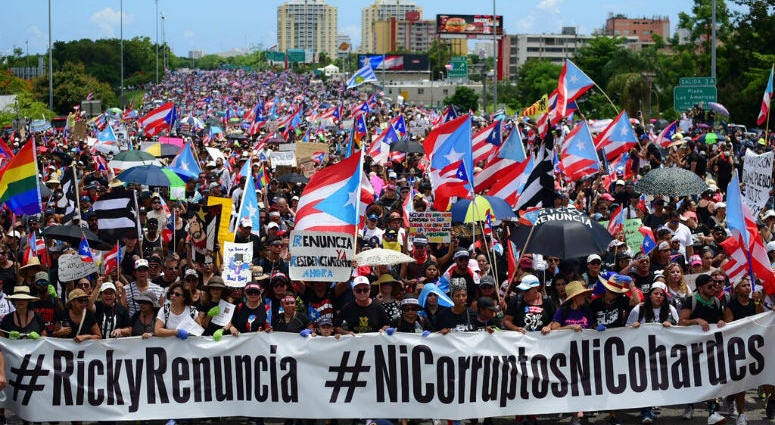 Thousands of Puerto Ricans gather for what many are expecting to be one of the biggest protests ever seen in the U.S. territory, with irate islanders pledging to drive Gov. Ricardo Rossello from office, in San Juan, Puerto Rico, Monday, July 22, 2019.